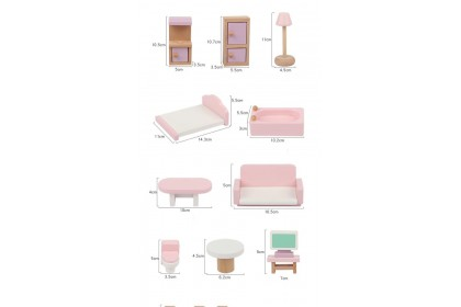 One Elephant Wooden Doll House with Furniture Accessories